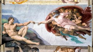 The restored 'Creation of Adam' by Michelangelo Buonarroti on the ceiling of the Sistine Chapel