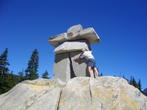 The ultimate Cairn at the site of the Winter Olympic Games in Whistler BC, Canada