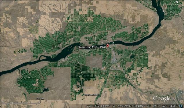Google Earth Image of Umatilla, Oregon