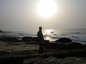 Rocky coast of Ghana, west Africa