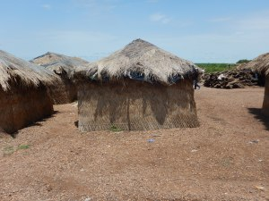 Thatch roofed hut in remote north central Ghana